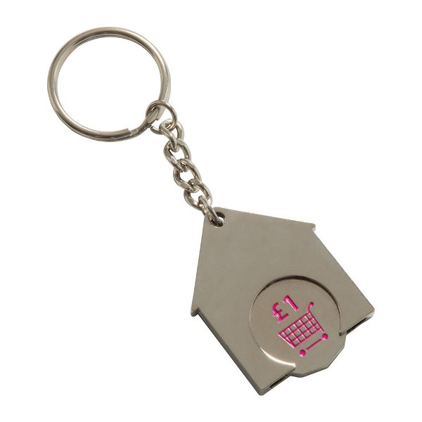 House Shaped Trolley Coin Keyring (Stamped Iron Soft Enamel Infill)