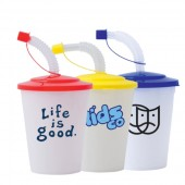 Plastic Drinking Cup With Matching Lid And Straw Cap (400ml)