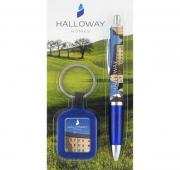 Blister Packed Contour Wrap Ballpen With Kolour Key Ring
