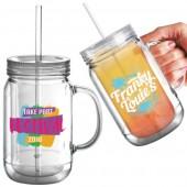 Reusable Plastic Mason Drinking Jar (16oz/455ml)